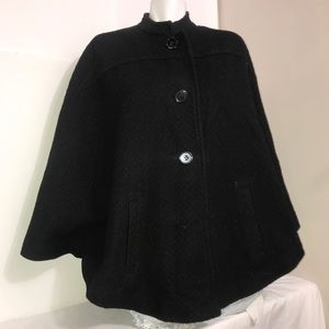 H&M Black Wool Double Breasted Flared Full Cape
